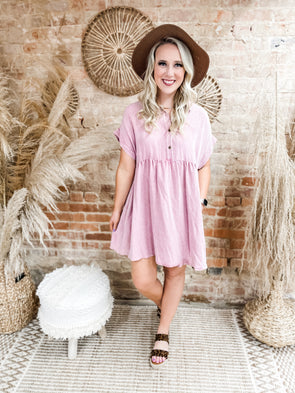 Taya Button Front Babydoll Dress- Mauve