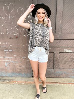Esther Leopard Boat Neck Boxy Top