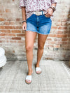 Scarlett High Rise Mid Thigh Frayed Shorts