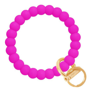 Bubble Bangle Key Ring- Deep Neon Pink/Gold