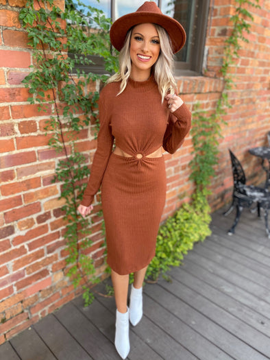 Genesis Cutout Keyhole Skirt Dress- Brown