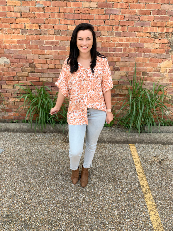 Calley Leopard Button Down Top- Cantaloupe