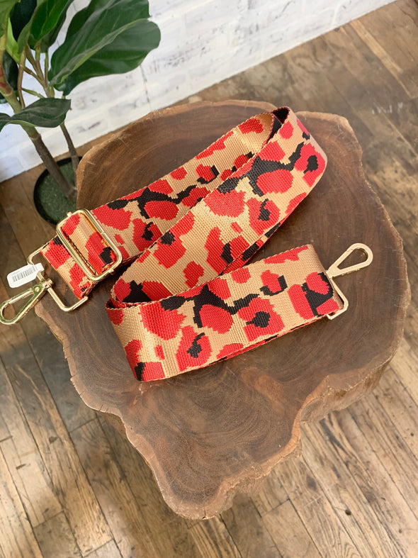 Bag Strap- Camel/Red Leopard Adjustable Strap
