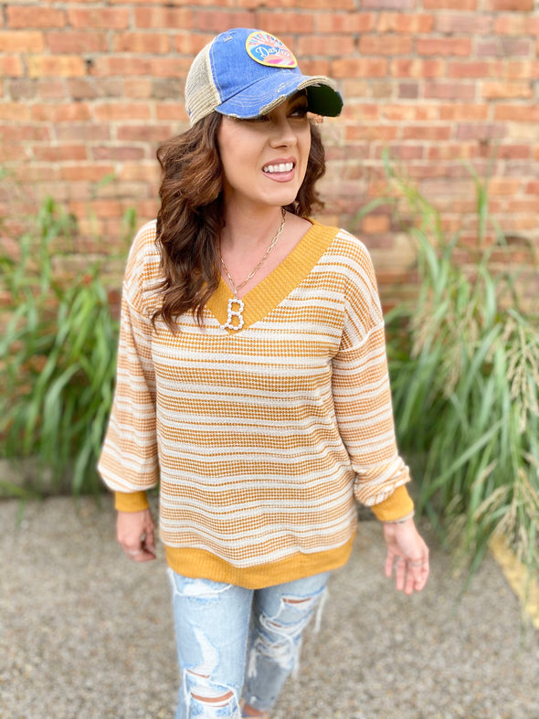 Beck Waffle Knit Striped Top- Mustard