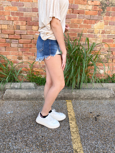 Katie High Rise Distressed Raw Hem Shorts