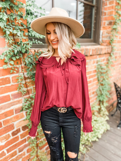 Bristol Tiered Ruffle Collar Top- Burgundy