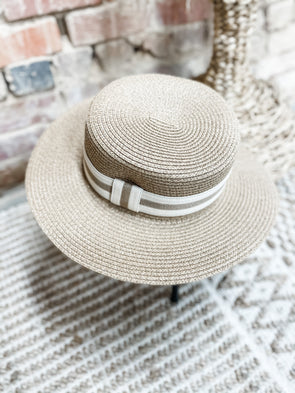 Becca Striped Band Straw Hat- Khaki