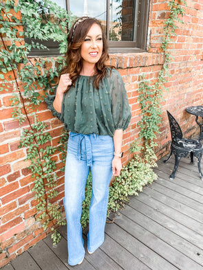 Madison Off the Shoulder Bubble Sleeve Crop Top- Olive