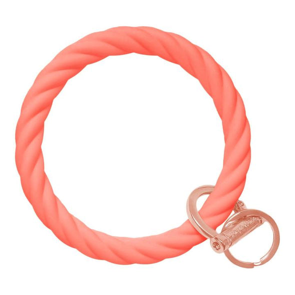 Twist Bangle Bracelet Key Ring- Coral/Rose Gold