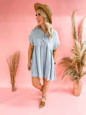 Taya Button Front Babydoll Dress- Denim