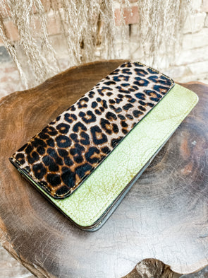 Nova Leather Wallet- Dark Green/Cheetah