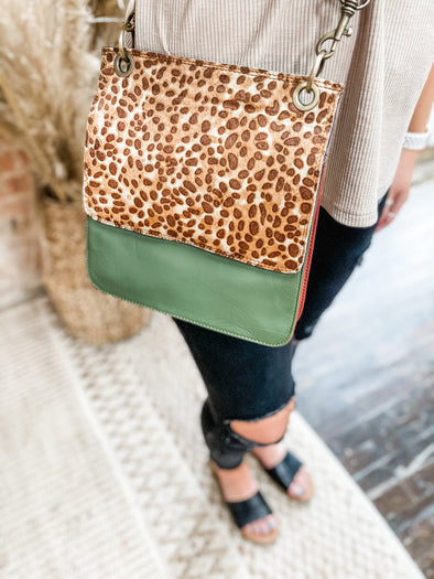 Britton Leather Crossbody- Army Green/Leopard