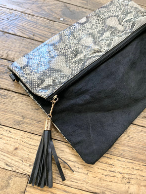 Animal Print Fold Over Wristlet Crossbody/Clutch Bag- Python