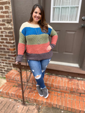 Shelby Sweater- Olive/Teal - Texas Bling
