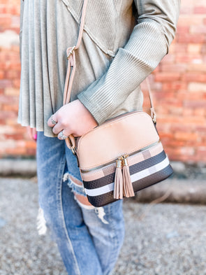 Martyn Plaid Crossbody- Taupe