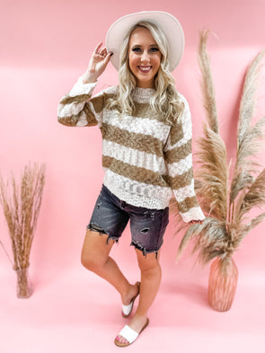 Claire Striped Semi Sheer Sweater
