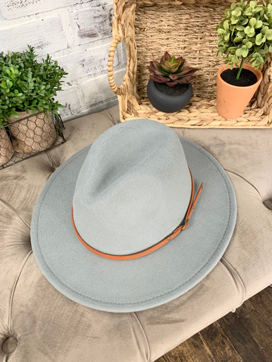 Remington Brown Belt Hat- Light Grey