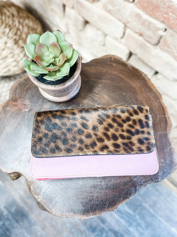 Nova Leather Wallet- Pink/Leopard