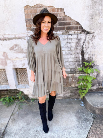 Charlee Smocking Puff Sleeve Dress- Olive