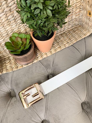 Square Buckle Belt- White