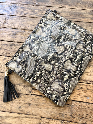 Animal Print Wristlet Crossbody/clutch bag- Beige