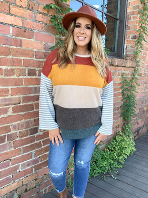 Makayla Multi Color Striped Knit Top- Rust