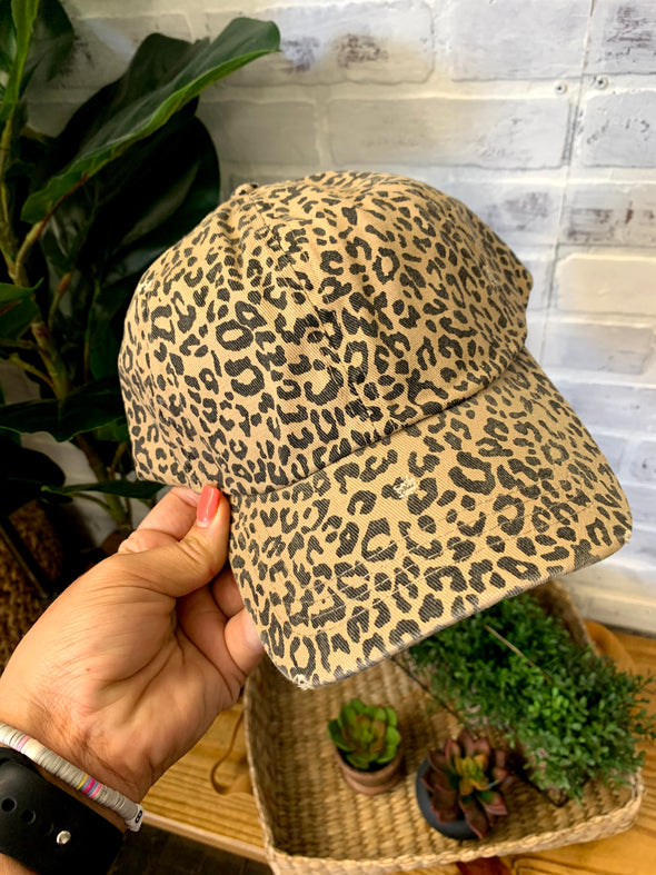 Leopard Vintage Distressed Baseball Cap