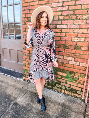 Elise Leopard and Floral Mixed Print Hi Low Midi Dress