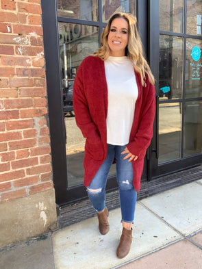 Joy Sweater Cardigan- Burgundy