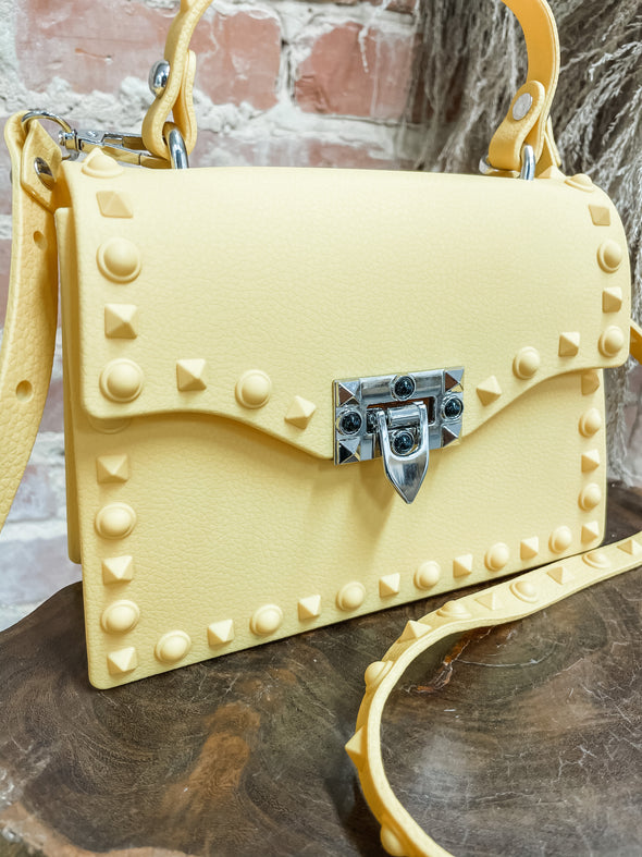 Judith Monotone Studded Clutch- Yellow