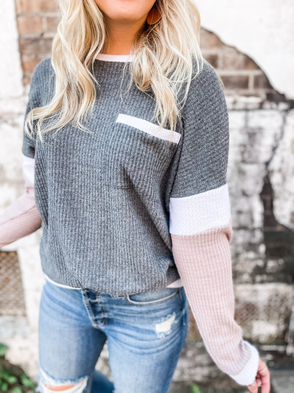 Gemma Color Block L/S Top - Grey