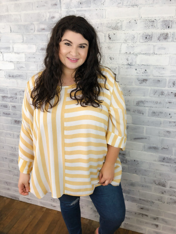 Striped Blocked Top- Yellow - Texas Bling