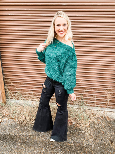Audray Boat Neck Fuzzy Knit Top- Hunter Green