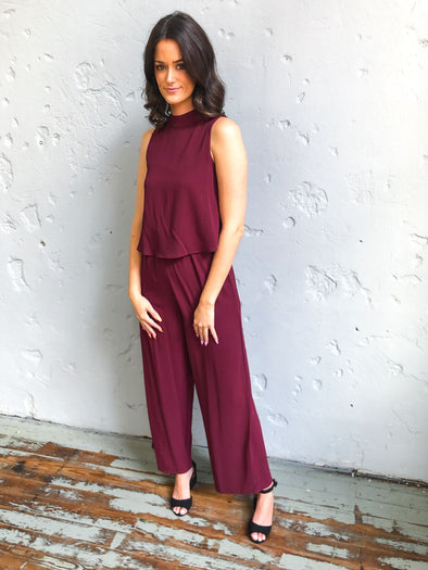 Adelyn Jumpsuit- Wine - Texas Bling