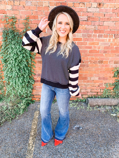 Braelynn Striped Sleeve Sweater- Black