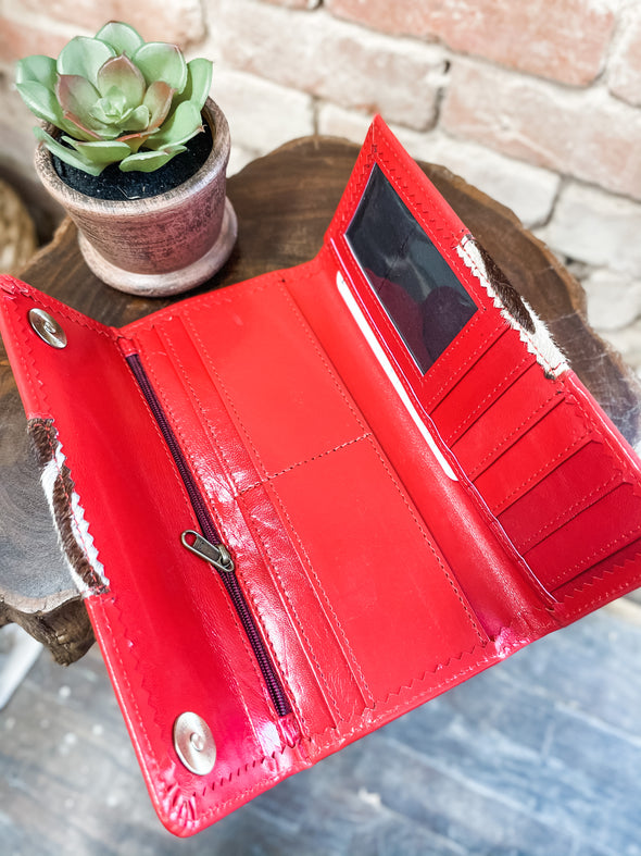 Bria Leather Wallet- Red/Zebra