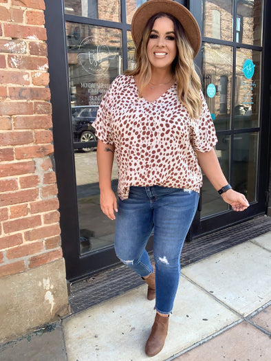 Selena Leopard Top- Taupe