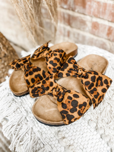 Betsey Bow Tie Sandals - Leopard