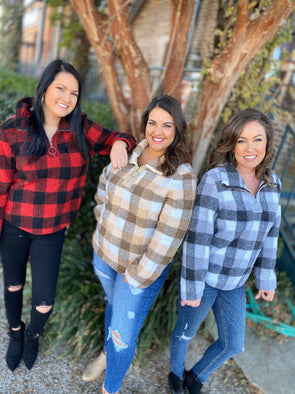 Plaid Zipper Pullover- Brown - Texas Bling