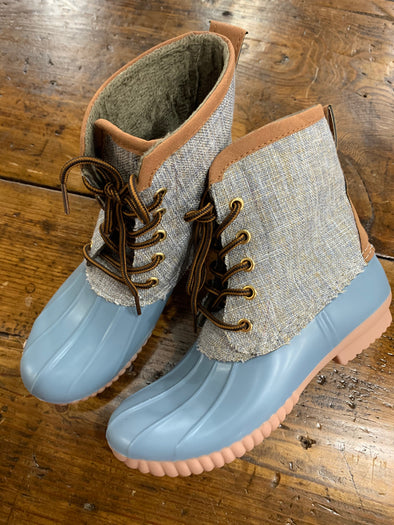 Stevie Duck Boots- Tan/Blue Grey