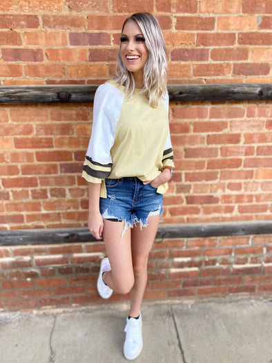 Finley Color Block Baseball Top- Mustard