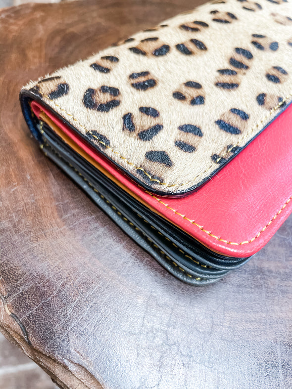 Nova Leather Wallet- Red/Spotted Cheetah
