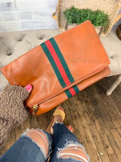 Preppy Stripe Foldover Clutch- Green & Red Stripe