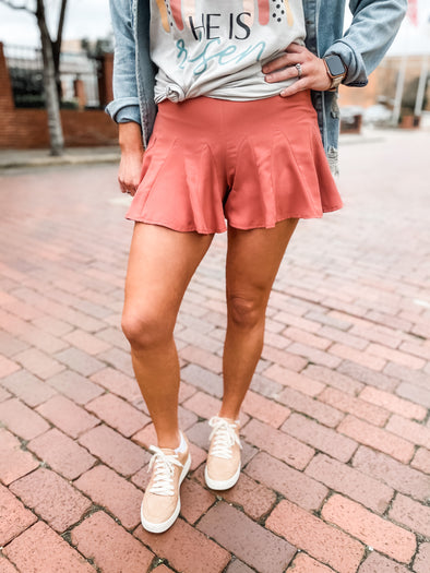 Lisa Ruffle Swing Shorts- Salmon