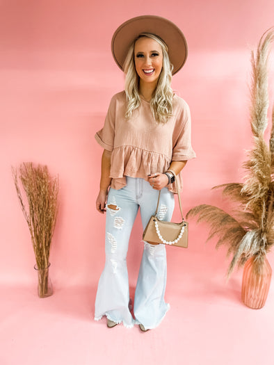 Cici Dolman Semi Crop Top- Blush
