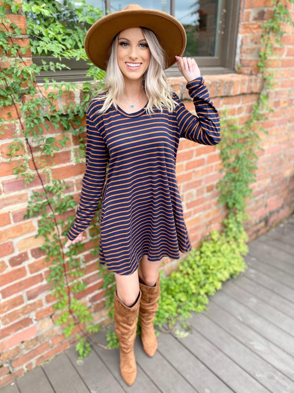 Esther Striped Long Sleeve Casual Dress- Navy/Brown