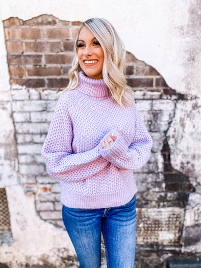 Josie Turtle Neck Melange Sweater - Dusty Lavender