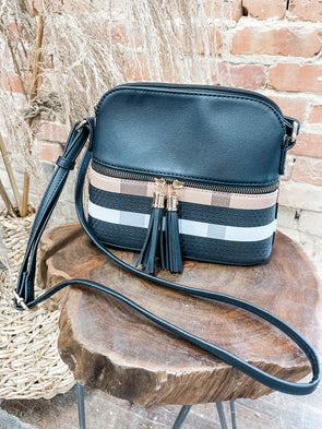 Martyn Plaid Crossbody- Black