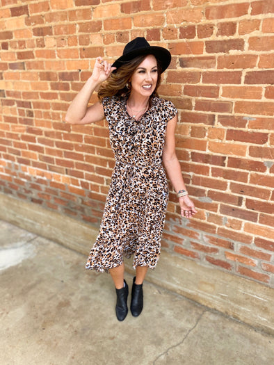Kamila Leopard Print Smocking Dress