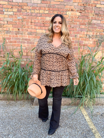 Haley Leopard Tiered Top